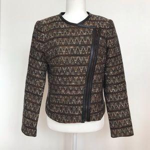 Trina Turk black, brown, orange chevron coat